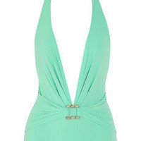 Karla Colletto|Turquoise Square plunge-front swimsuit|NET-A-PORTER.COM