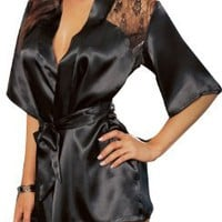 Dreamgirl Women's Lace Intrigue Robe, Black, Medium