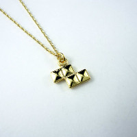 Dainty Tetris Block Necklace in Gold