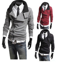 Hot New Fashion Men Sweater Cardigan Coat Jacket Zipper Long Sleeve Slim Fit Z