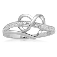 Sterling Silver Diamond Heart Ring (1/20 cttw, I-J Color, I3 Clarity), Size 7