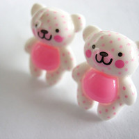 Polka Dot Teddy Bear Post Earrings -Plastic Posts-