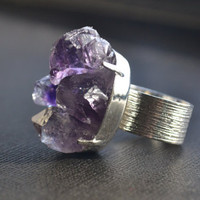 Raw Amethyst Ring Crystal Cluster