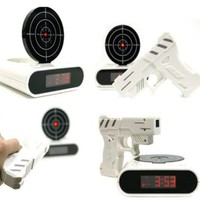 Zicac Shooting Gun Recordable Alarm Clock- White/ Creative Gift