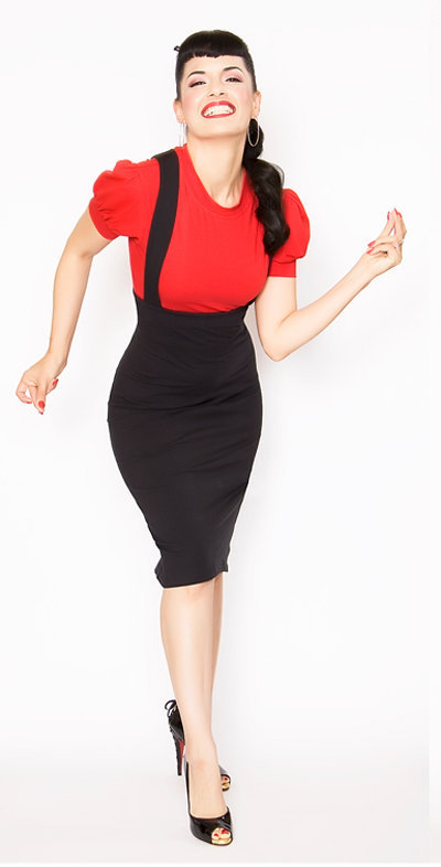 Rockabilly Girl by Bernie Dexter**Fitted Black Maria Overall Pencil Skirt - Unique Vintage - Cocktail, Evening & Pinup Dresses