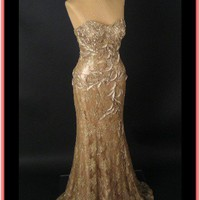 Blue velvet vintage gold evening gown