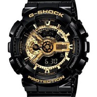 Men&#x27;s Black G-Shock Digital Anti-Magnetic Gold Tone Analog [Watch] Casio