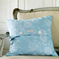Pale and Interesting - Blue Vintage Mattress Ticking Cushion Cover