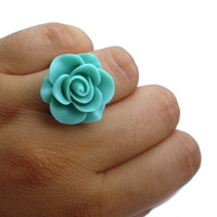 Statement Ring Flower resin rose Teal green by JPwithLove on Etsy