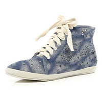 Blue laser cut high tops