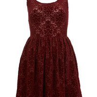 Petites Red Devore Dress - New In