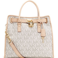 MICHAEL Michael Kors  Large Hamilton Perforated Leather Logo Tote - Michael Kors