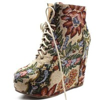 Amazon.com: Vintage Berkeley-05 Floral Laced Up Wedge Heel Ankle Boots: Shoes