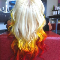 FIRE SUNRISE Yellow Orange Red Ombre Tips // (6) Pieces // Human Hair // Clip In Extensions