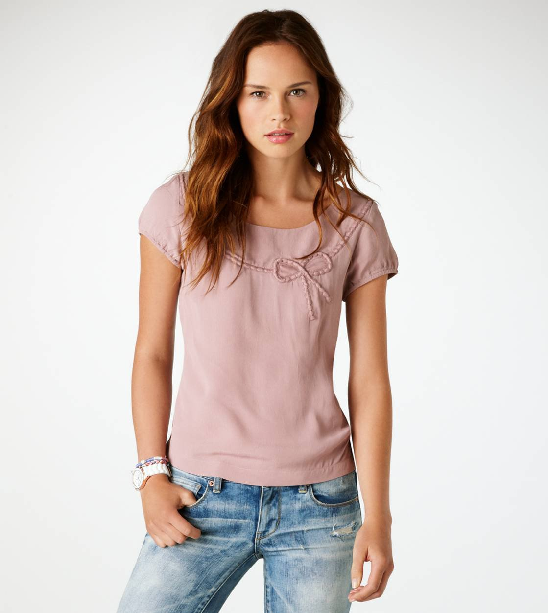 AE Bow Zip-Back Top | American Eagle Outfitters