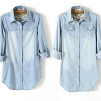 Women&#x27;s Long Pocket Light Blue Denim Collar Long Sleeves Blouse 2 styles