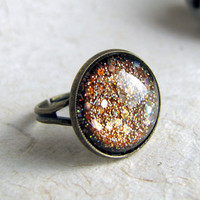 Steampunk Ring  Sands of Time  Glass and Glitter by AshleySpatula