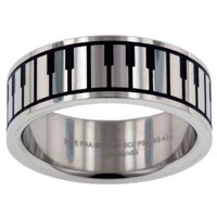 Music Keyboard Give Praise Band Stainless Steel Ring: Jewelry: Amazon.com