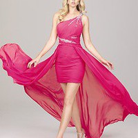 New Sexy High-Low One Shoulder Fitted Prom Dress Ball Gown Party Evening Dresses