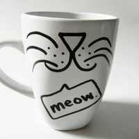 ON VACATION cat face - meow. - mug // hand-drawn/written