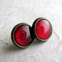 Ruby Sparkle 10mm Antiqued Brass Post Earrings by AshleySpatula
