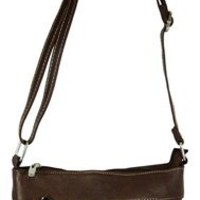 Geunine Leather Crossbody Messenger Purse (Brown)