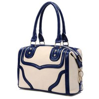LACOLE Beige with Blue Accents Top Double Handle Doctor Style Office Tote Bowler Satchel Handbag Purse Convertible Shoulder Bag