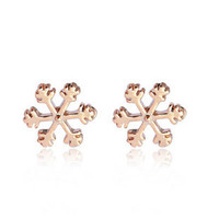 Fashion Sweet Style Snowflake Shape Stud Earrings For Women