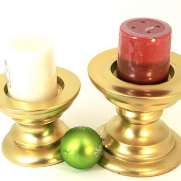 "Gold Pillar Candle Holders Set of 2  ""Up-cycled"" Short Chunky Pedestal Style Hand Painted Holiday Decor"
