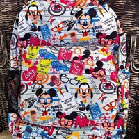 Disney Mickey Mouse Nerds Pattern Backpack NEW