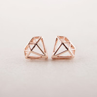 Diamond shaped Stud Earrings in Pink Gold