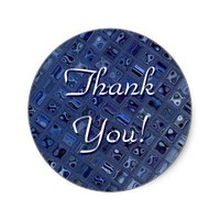 Blue Jewel Thank You Sticker from Zazzle.com