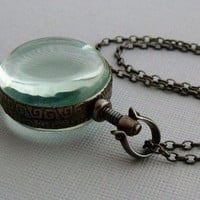 Round Glass Photo Locket Necklace by pinkingedgedesigns on Etsy
