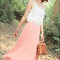 Asian Style Lace Top Pleats Girls Dresses Pink  : Wholesaleclothing4u.com