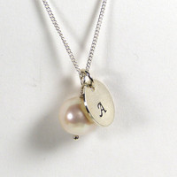 Personalised Necklace Fresh Water Pearl and Handstamped Sterling Silver