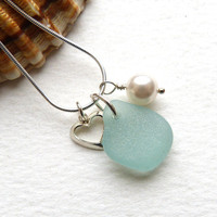 Sea Glass, Sterling Silver Heart and Crystal Pearl Necklace