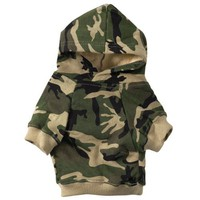Casual Canine Cotton Camo Dog Hoodie, Small, Green
