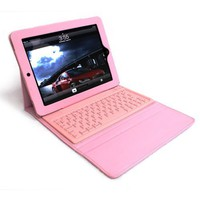 Pink Apple iPad2 boothtooth wireless keyboard PU leather case