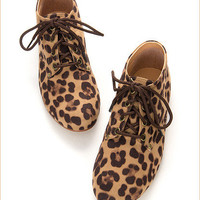 Womens Leopard Print Boyfriend Style Oxford Lace Up Flat Casual Shoes Brown Gray