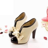 Sexy Lady Beige Bow Pump Shoes Platform Women High Heel