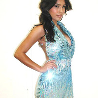 Sequin Dress Blue Silver Sequin Halter by partydressesbyjasmin