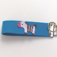 Key Chain, wrist-let,  Key Fob in Blue with a Horse applique, cowgirl, western