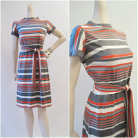 60s 70s Dress Vintage Mod Orange Grey Striped by voguevintage