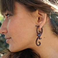 Ma&#x27;ayan Curls  Organic Wood Post Earrings Brown by TribalStyle