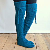 Alpine Thigh High Slouch Sock - WINTER TEAL thick cable knit socks with fold over cuff and tassel tie - boot sock leg warmer (item no. 6-18)