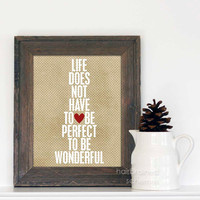 Wonderful Life original digital print in latte & white - Digital Print Typography Poster