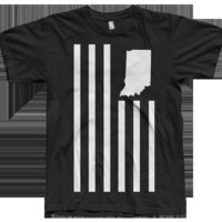 United State of Indiana — USI Flag Black Tee