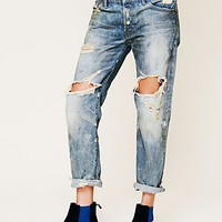 Free People Oil Stained Destroyed Boyfriend Jean