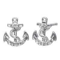 Soufeel sterling silver anchor stud earrings