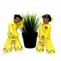 Vintage Asian Boy Girl Figurines Yellow Pottery 1950s